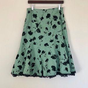 Anthropologie Odille A line black lace trim skirt